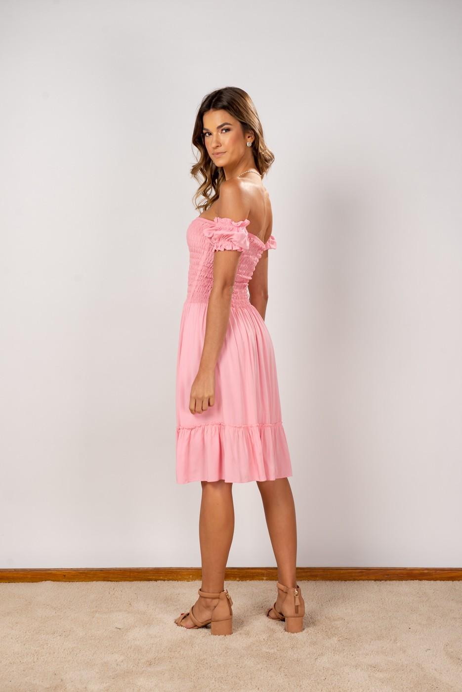 Vestido Ombro Lastex Midi Rose