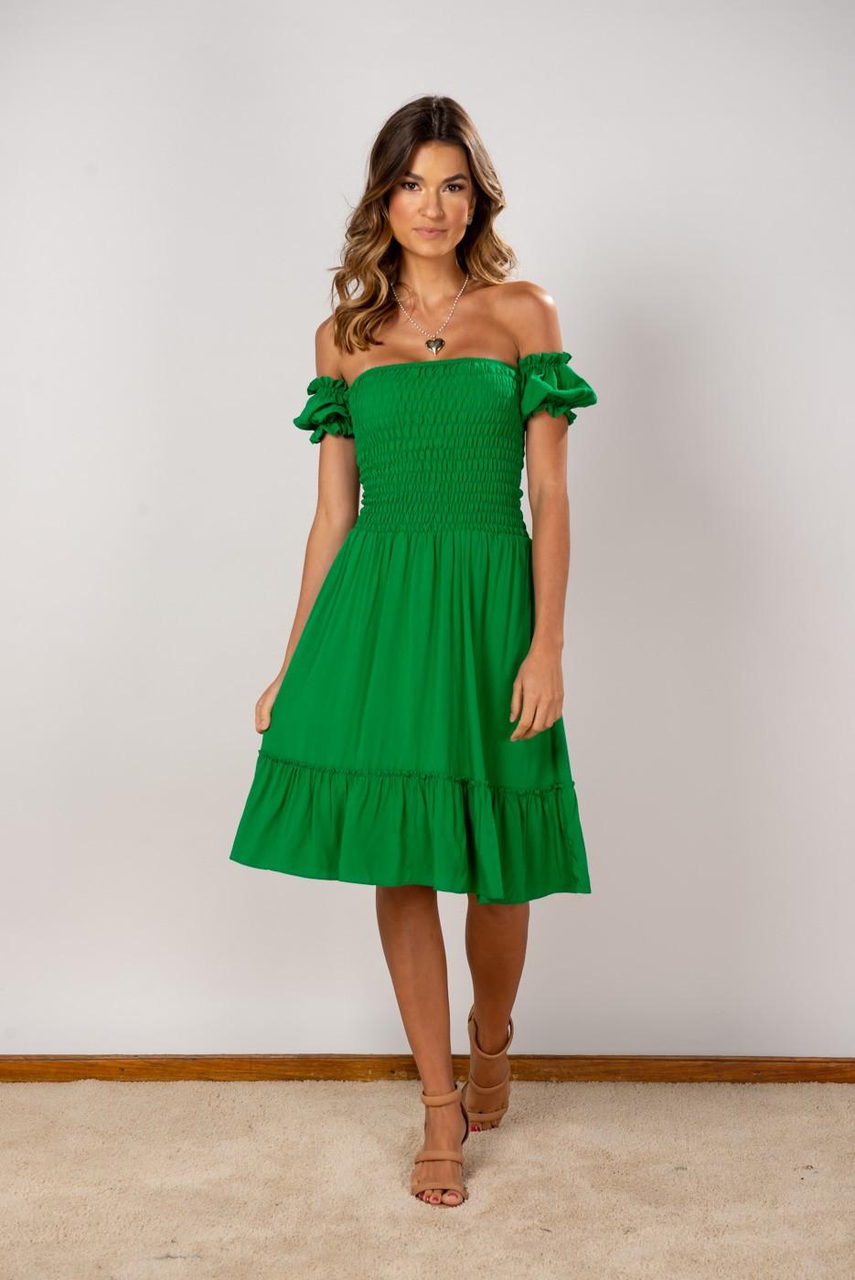 Vestido Ombro Lastex Midi Verde Bandeira