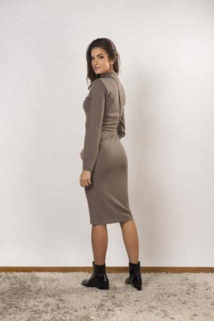 Vestido Ponto Roma Lu Marrom claro