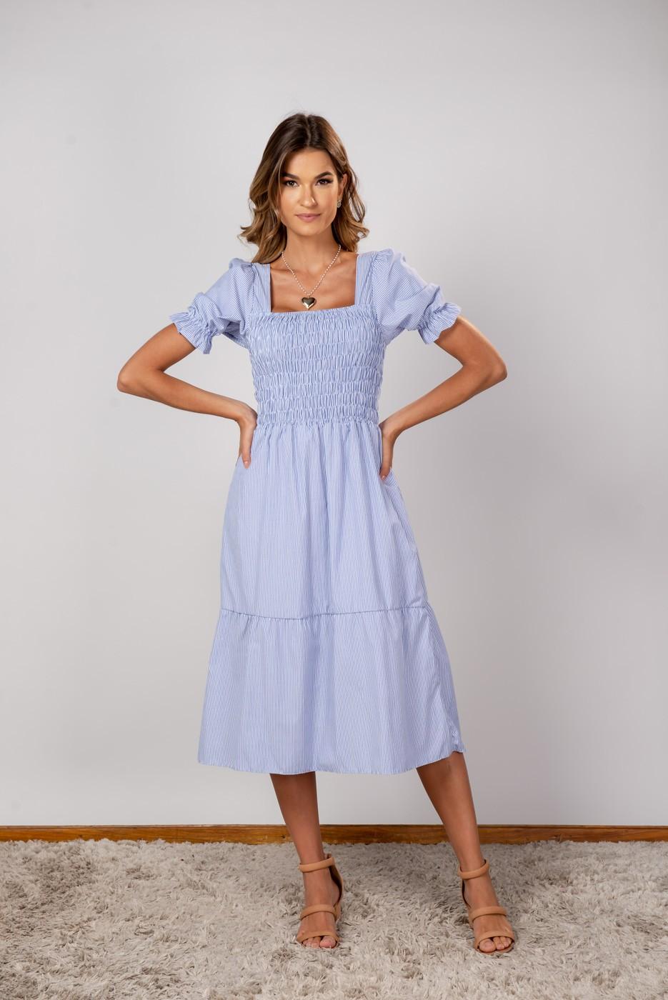 Vestido Thais Listrado Azul Marinho