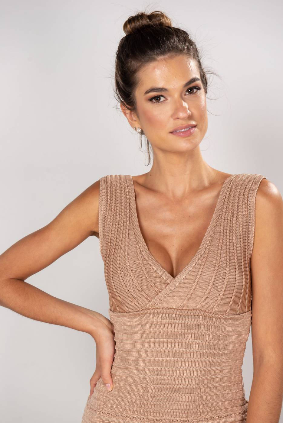 Vestido Tricot Bandagem Iolanda Nude