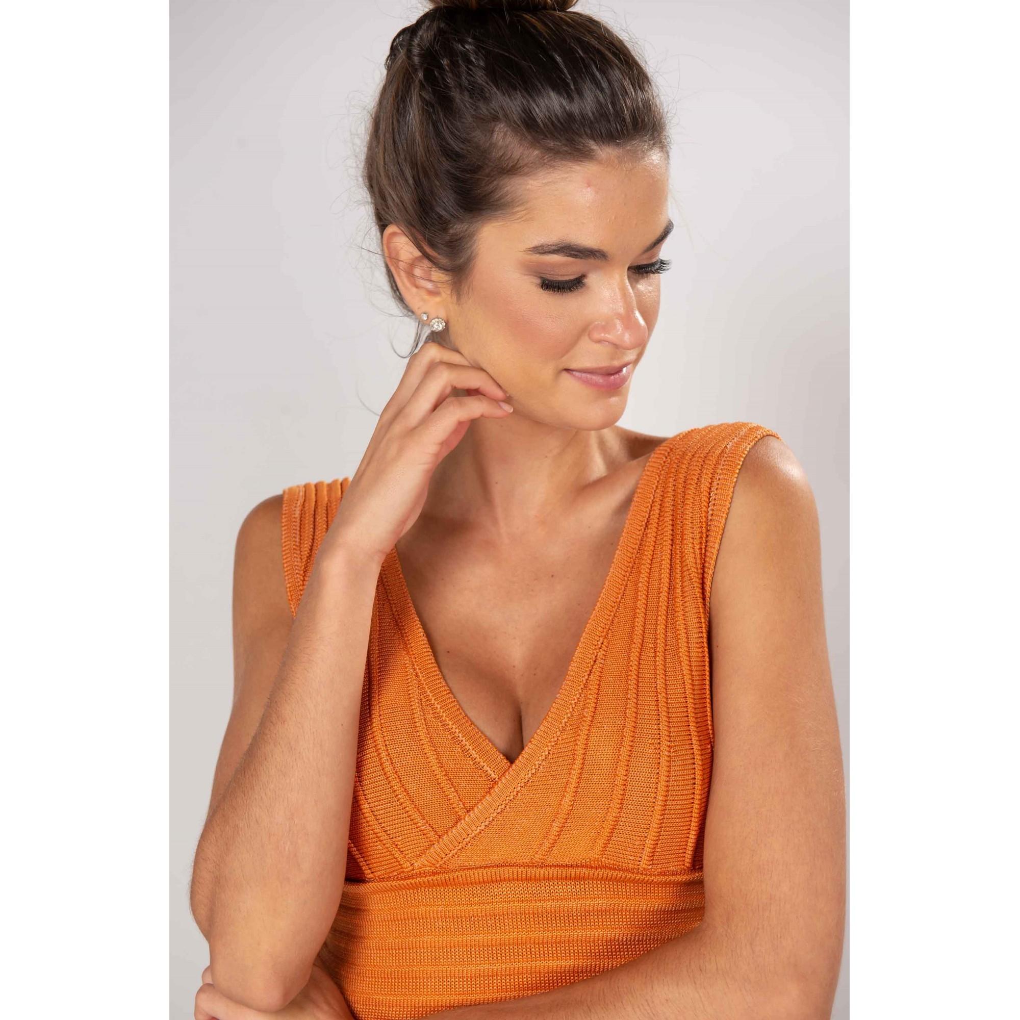 Vestido Tricot Bandagem Iolanda Coral