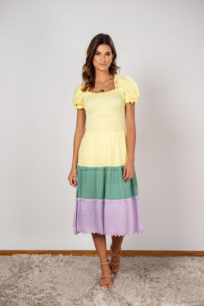 Vestido Tricot Larissa Amarelo