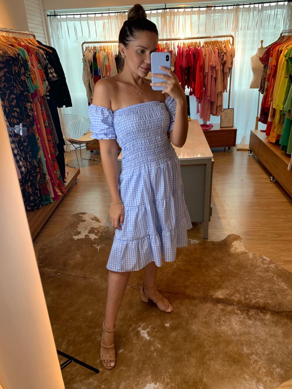 Vestido Xadrez Sofia Azul Claro