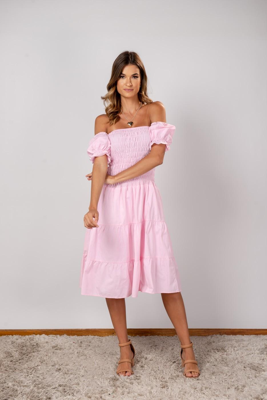Vestido Xadrez Lastex Ombro Rosa