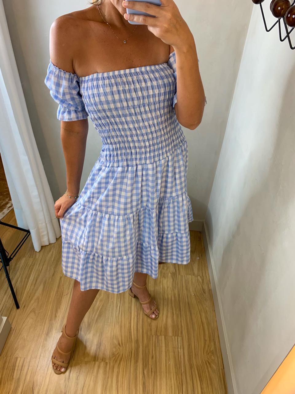 Vestido Xadrez Isabel Azul Claro