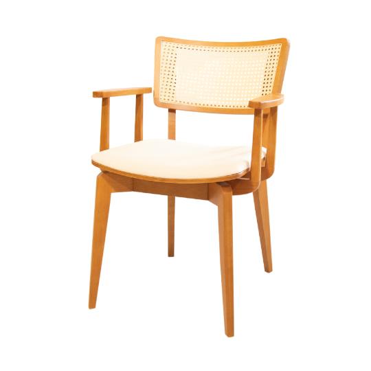 Cadeira encosto palhinha com braço