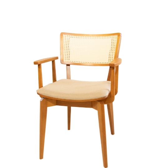 Cadeira encosto palhinha com braço turim
