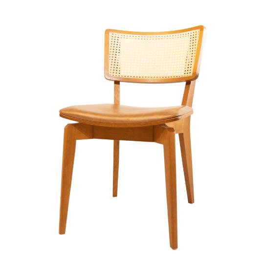 Cadeira encosto palhinha couro