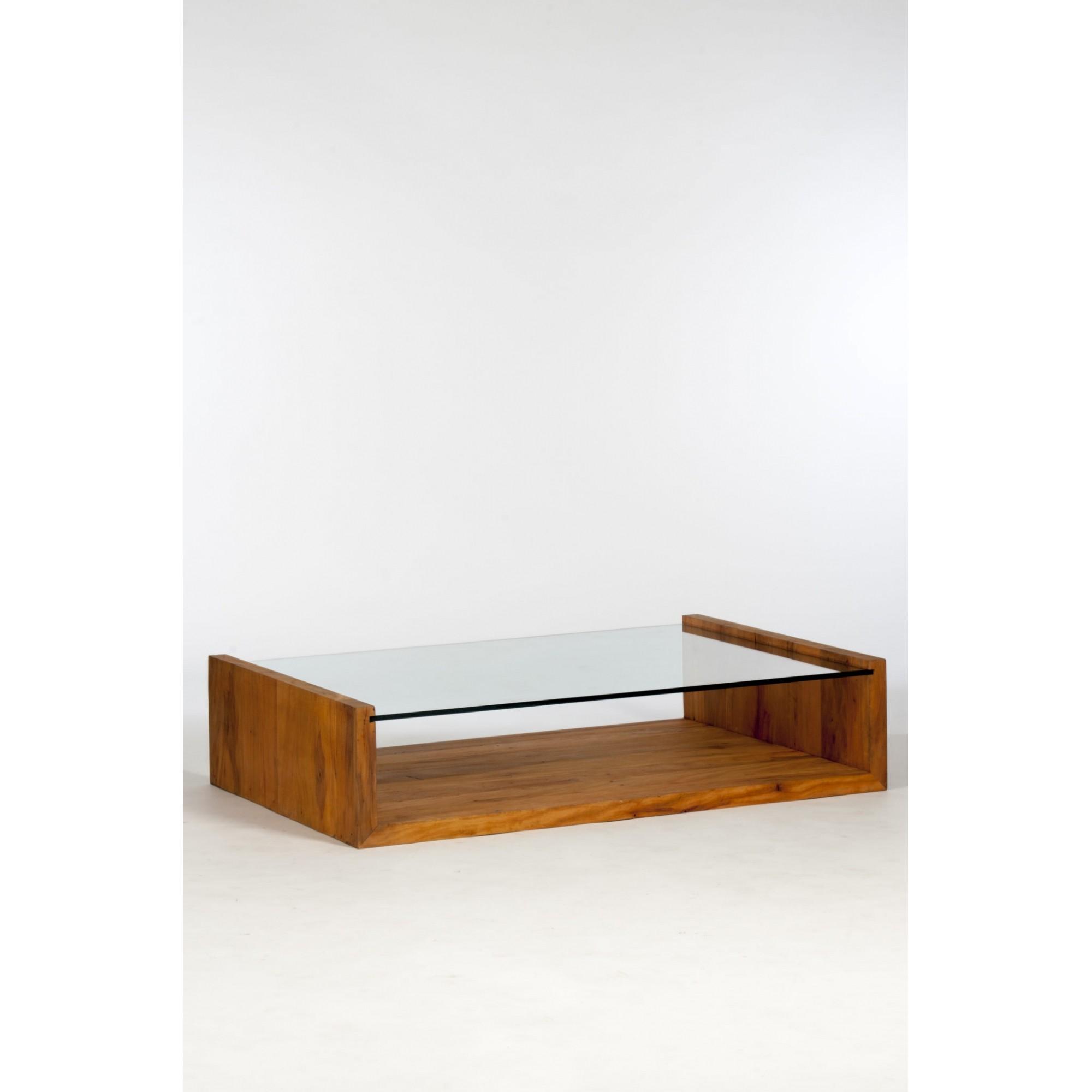 Mesa de centro viga u tampo de vidro 10 mm com rodízios