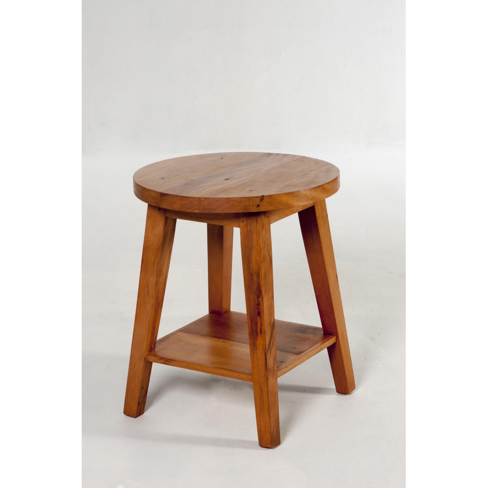 Mesa lateral com 1 tampo redondo e 1 quadrado