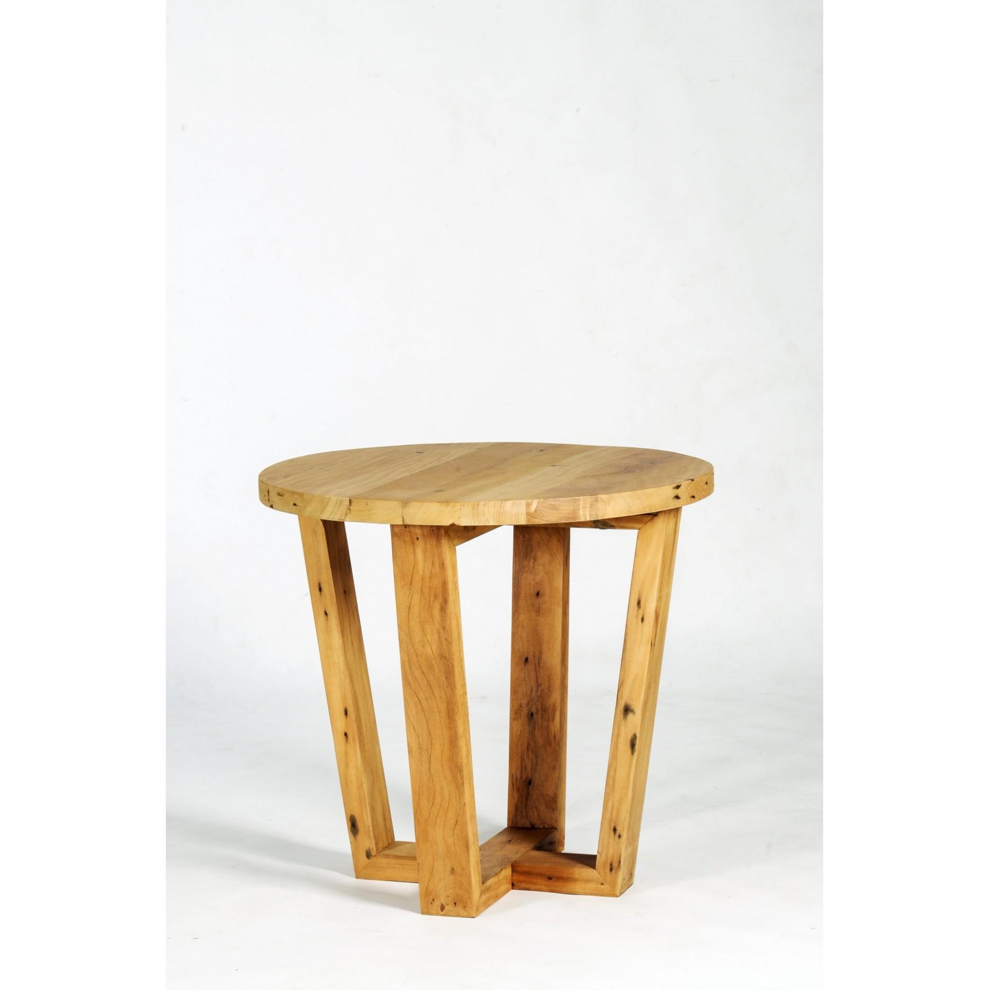 Mesa lateral viga redonda pés angulados