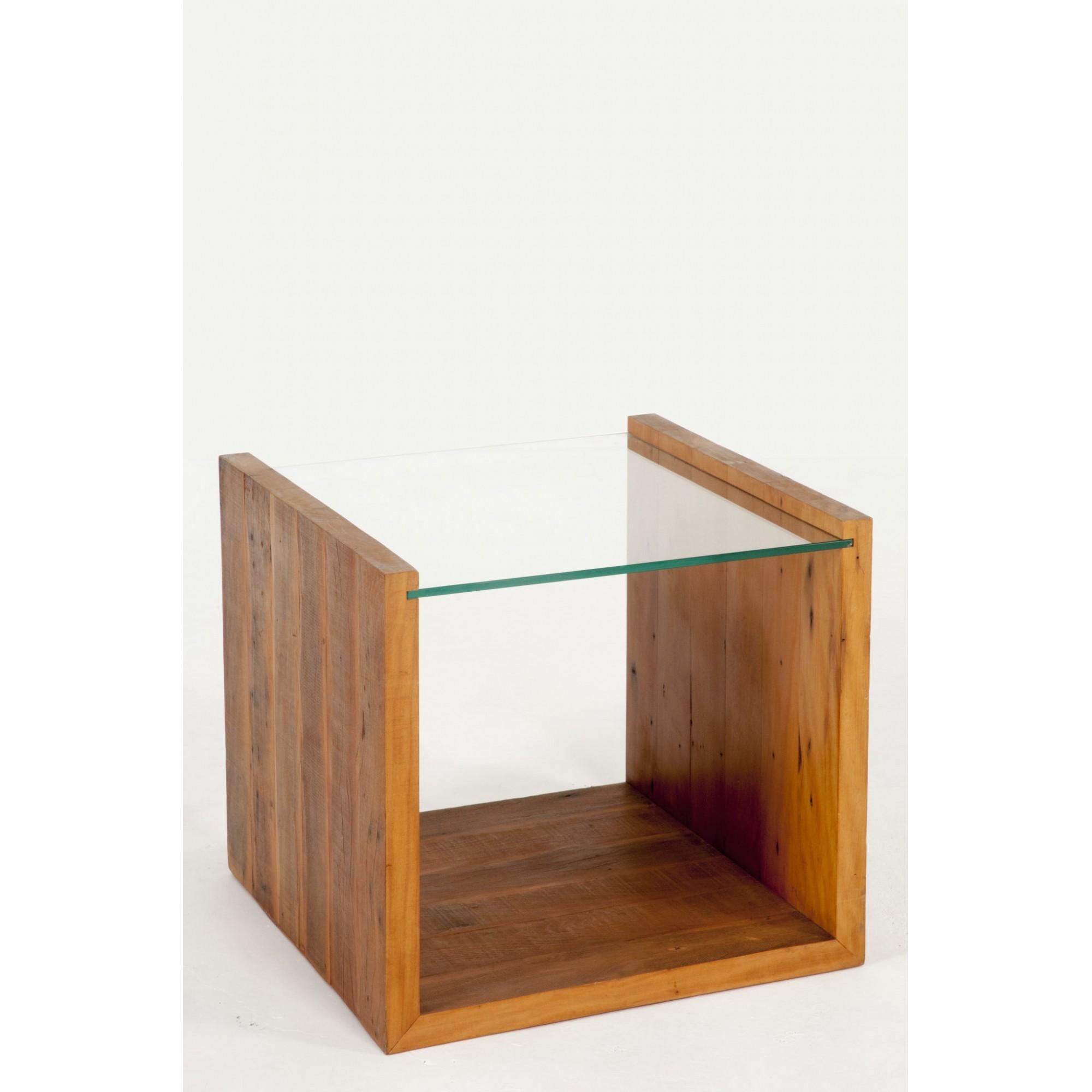 Mesa lateral viga u tampo de vidro 10 mm com rodízios