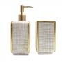 Kit Banheiro Quadriculado Cinza Dourado Resina
