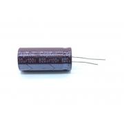 KIT COM 05 PEÇAS - CAPACITOR ELETROLITICO 820UF 100V RADIAL 105ºC 18X41MM CAPXON