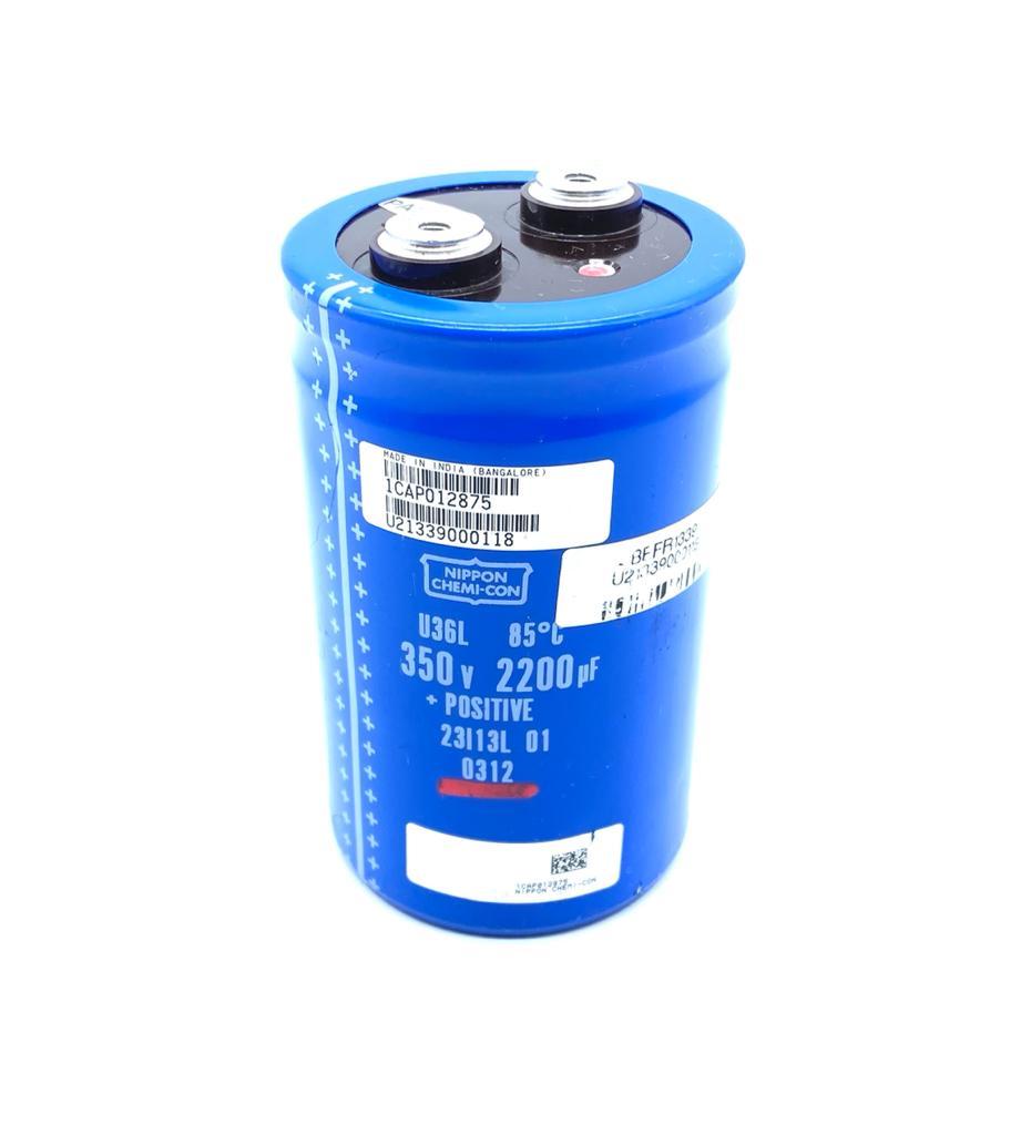 CAPACITOR ELETROLITICO GIGA 2200UF 350V 64X106MM U36L NIPPON CHEMI-CON (USADO)