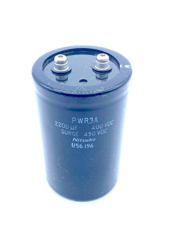 CAPACITOR ELETROLITICO GIGA 2200UF 400V 77X124MM PWR3A NITSUKO (USADO)