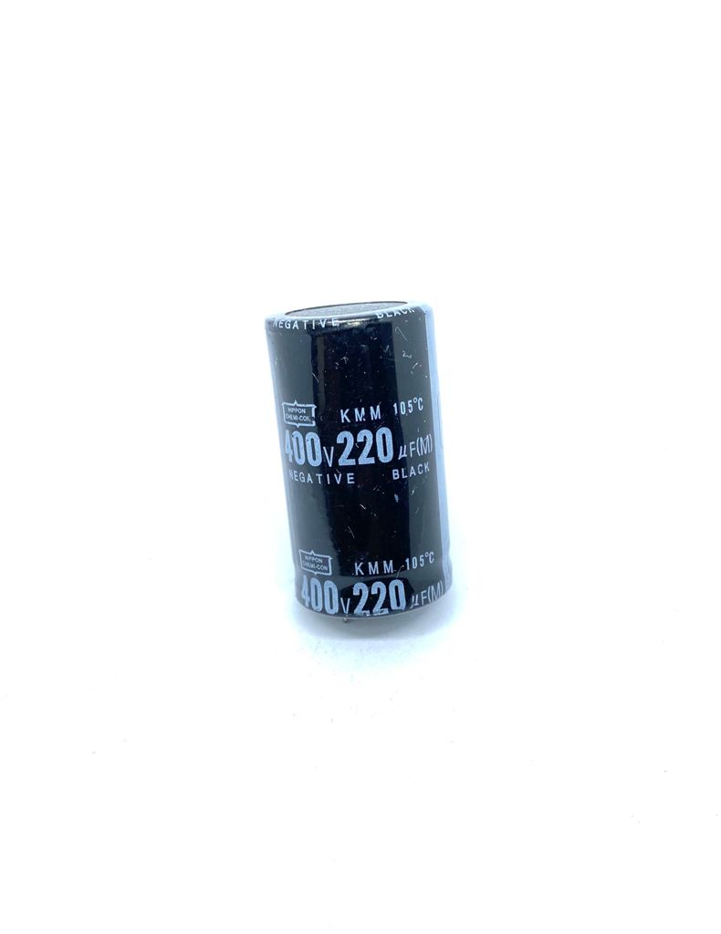 CAPACITOR ELETROLITICO SNAP-IN 220UF 400V RADIAL 105ºC 26X46MM NIPPON CHEMI-CON