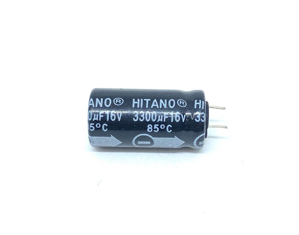 KIT COM 05 PEÇAS - CAPACITOR ELETROLITICO 3300UF 16V RADIAL 13X26MM HITANO