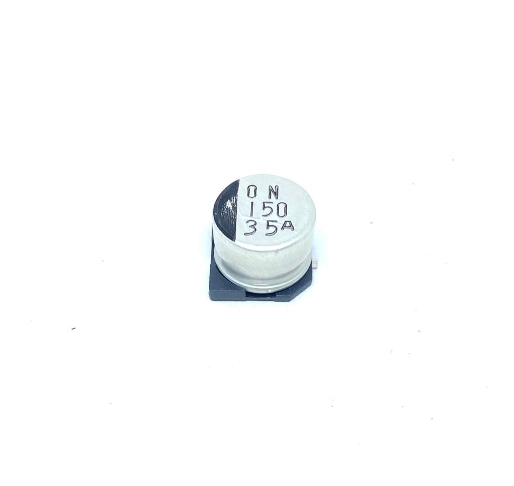 KIT COM 05 PEÇAS - CAPACITOR ELETROLITICO SMD 150UF 35V CE1V151M1DANG SANYO