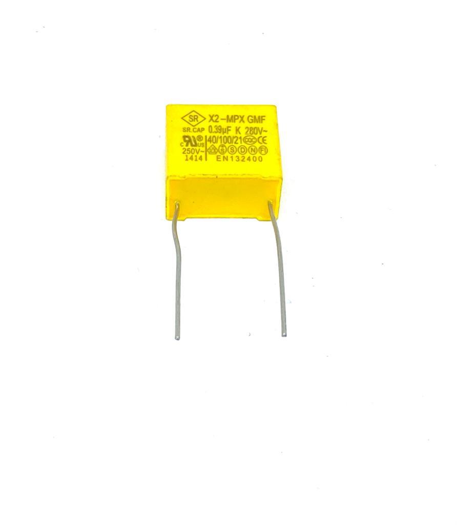 KIT COM 05 PEÇAS - CAPACITOR SUPRESSOR X2 390K 280VAC 18X10X15MM PASSO 15MM MPX GMF SRCAP (0,39UF 280V)