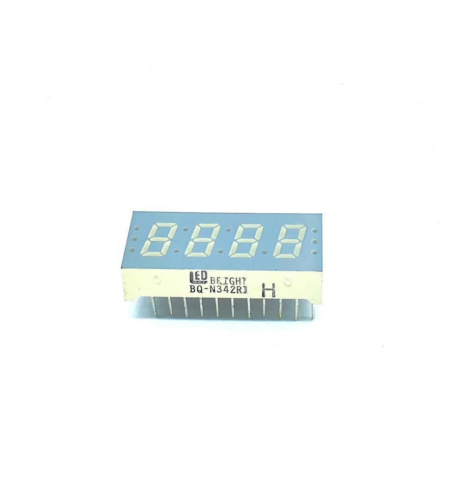KIT COM 05 PEÇAS - DISPLAY DE 7 SEGMENTOS COM 4 DIGITOS 22PINOS 31X6X13MM BQ-N342RI LED BRIGHT (BQN342RI)