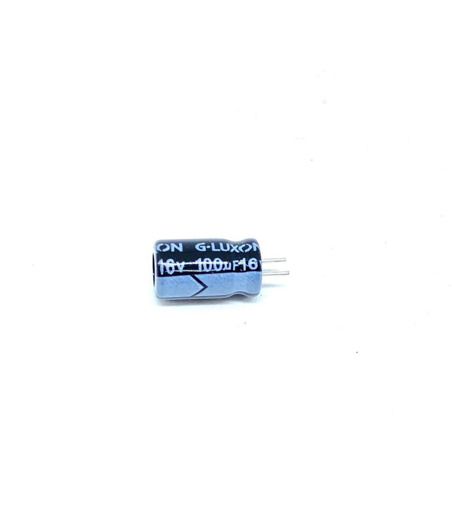 KIT COM 100 PEÇAS - CAPACITOR ELETROLITICO 100UF 16V RADIAL 105ºC 6X12MM ESM107M016C3A5E110 G-LUXON