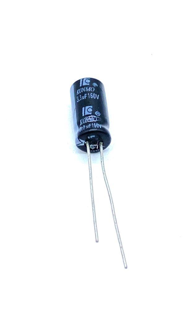 KIT COM 100 PEÇAS - CAPACITOR ELETROLITICO 3,3UF 160V RADIAL 105ºC 6X13MM KONMO