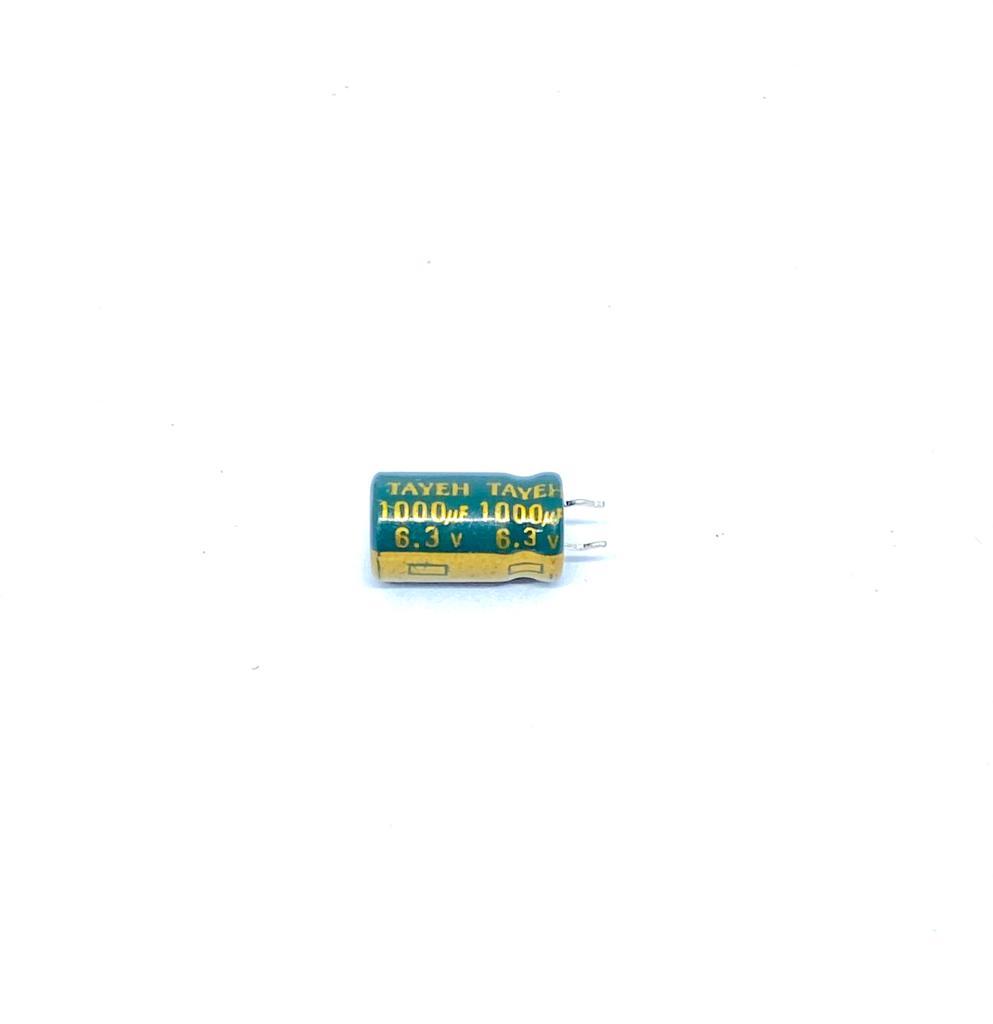KIT COM 10 PEÇAS - CAPACITOR ELETROLITICO 1000UF 6,3V RADIAL 105º 8X14MM TAYEH