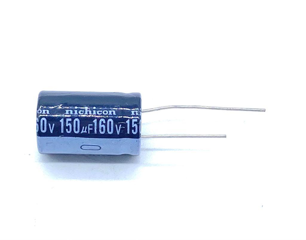 KIT COM 10 PEÇAS - CAPACITOR ELETROLITICO 150UF 160V RADIAL 105º 16X26MM NICHICON