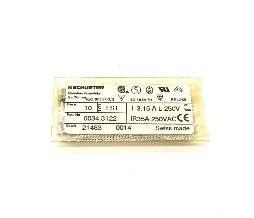 KIT COM 10 PEÇAS - FUSIVEL 3,15A 250VAC/VDC 0034.3122 SCHURTER (00343122)