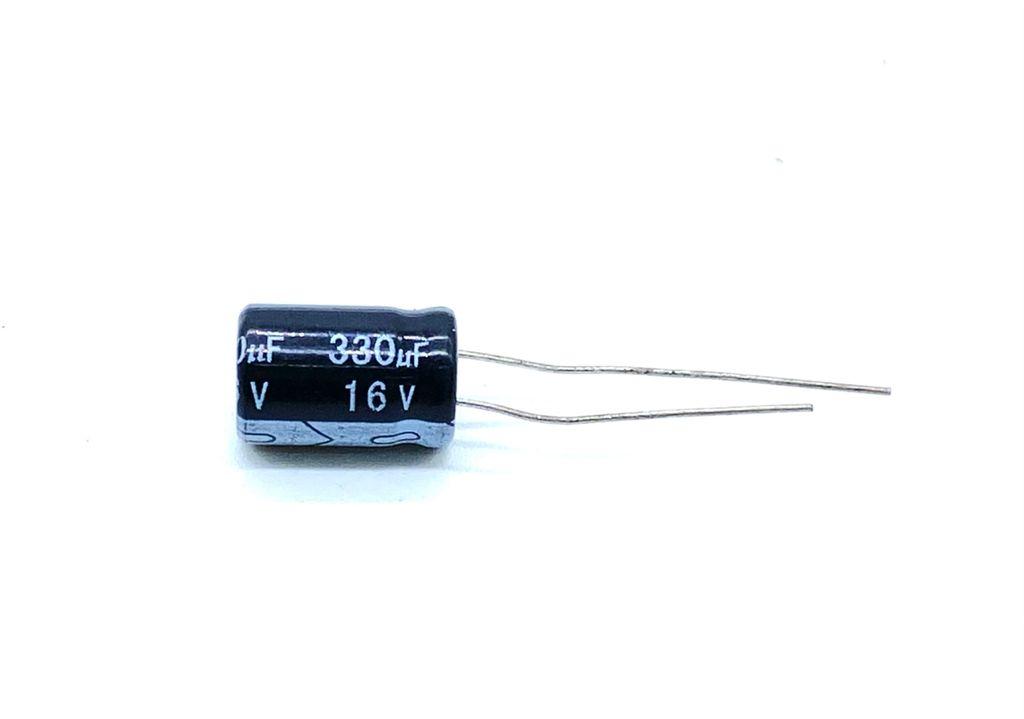 KIT COM 50 PEÇAS - CAPACITOR ELETROLITICO 330UF 16V RADIAL 8X13MM MHC