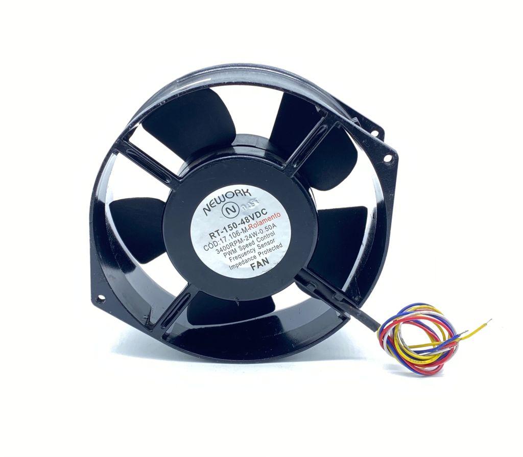 VENTILADOR FAN COOLER 172X150X55MM 48VDC 24W 0,50A 04FIOS RT150 RT172 17.106M NEWORK (17106M USADO)