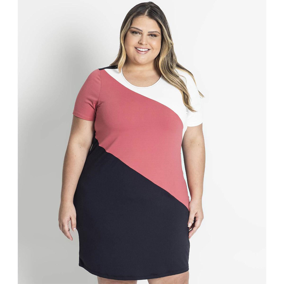 Vestido Feminino Tricolor Diagonal Secret S00750