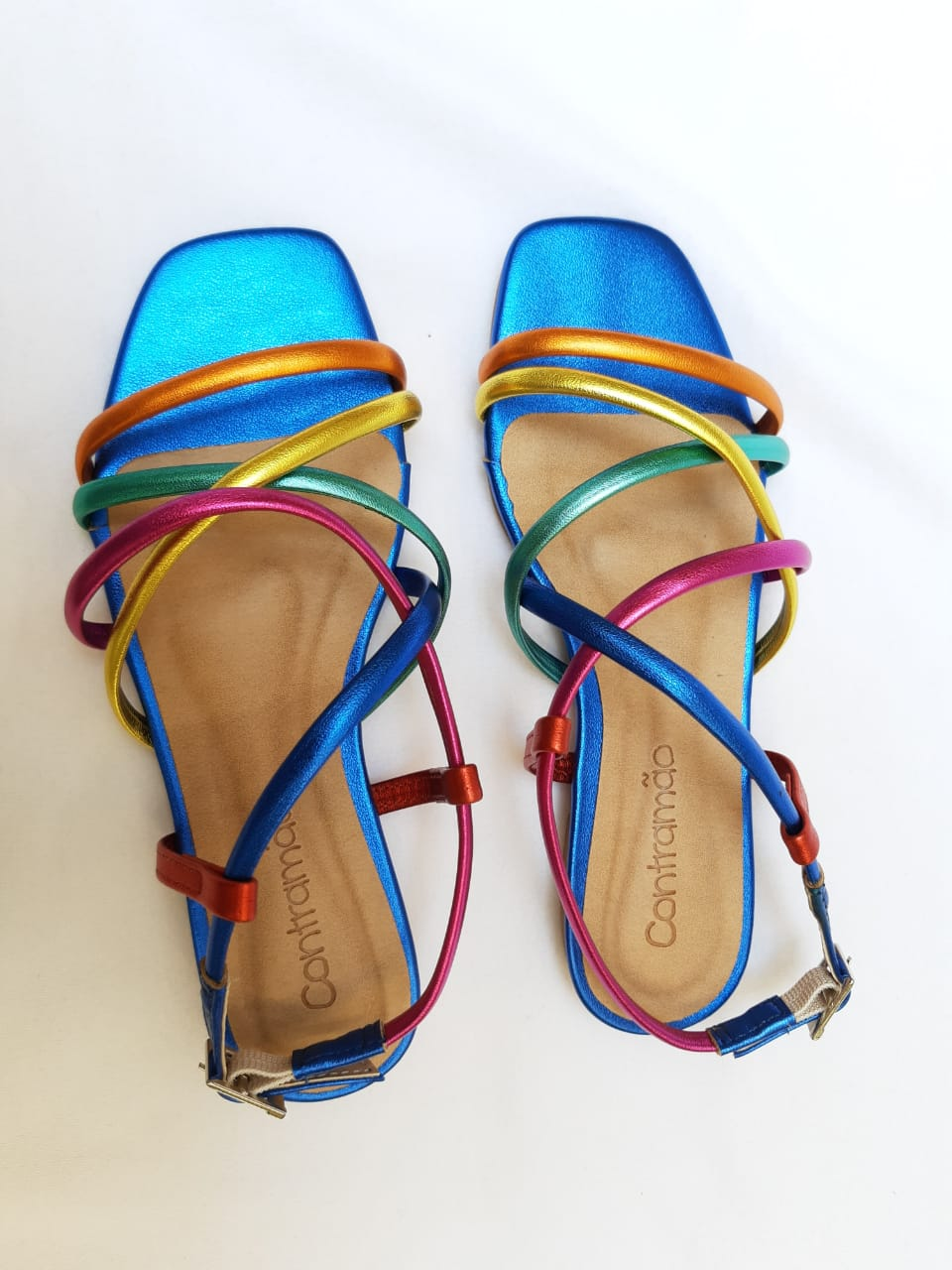 Sandália Infantil Azul Tiras Redonda Coloridas Ipanema Contramão