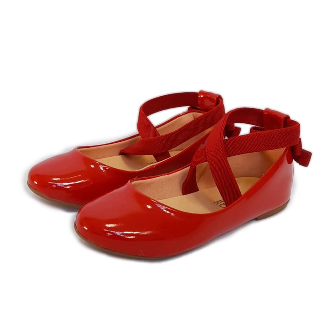 Sapatilha Contramão Vermelha Verniz Tipo Ballet Infantil/Infanto