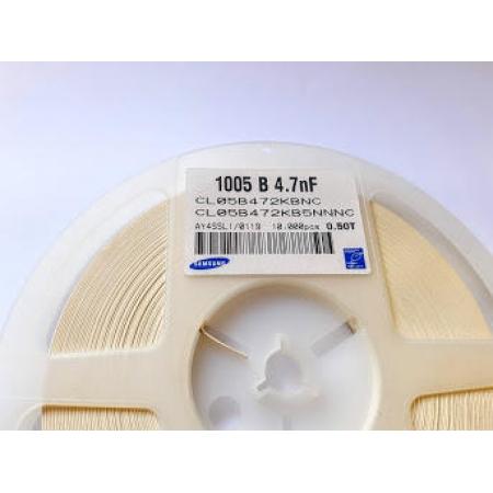 CAPACITOR CERAMICA CL05B472KB5NNNC 50V X7R 1005 - 5.000 Pçs