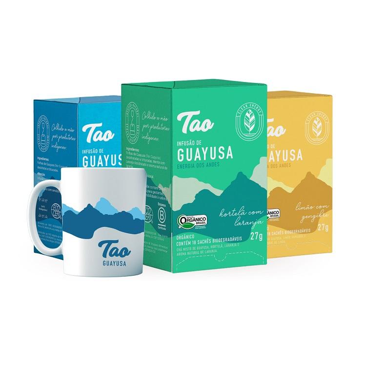 3 Caixas Chá de Guayusa Sabores Misto + Caneca TAO