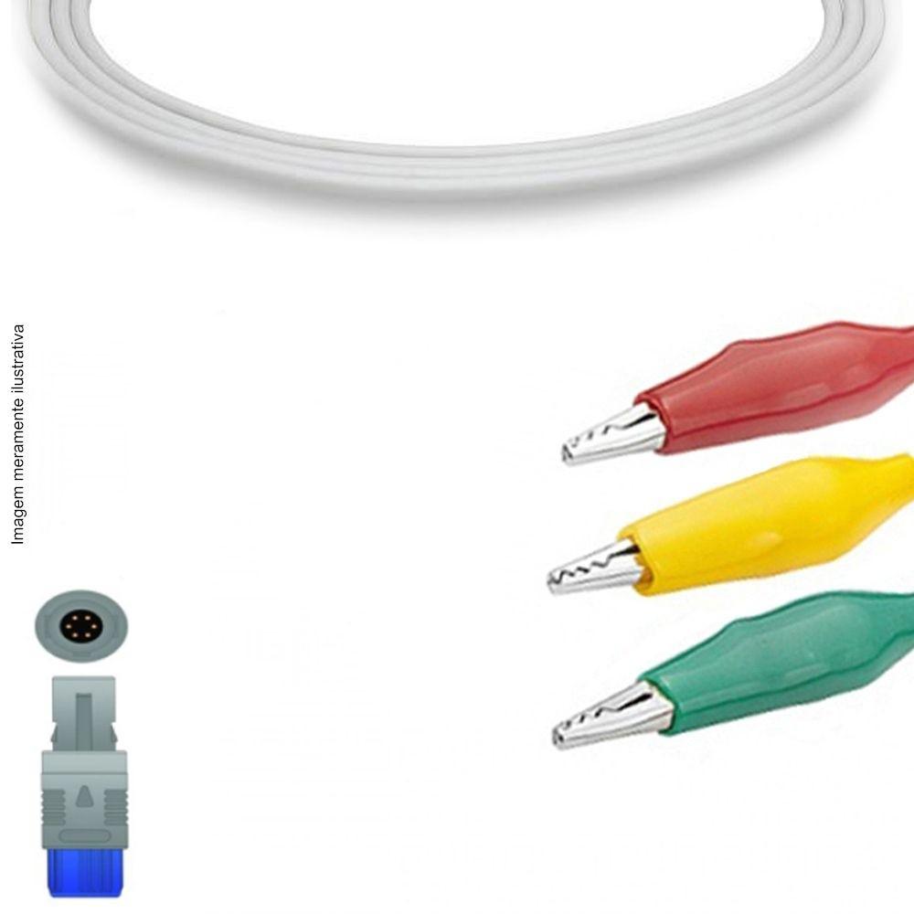 Cabo Paciente 3 Vias Compatível com BIOSYS Tipo Garra Jacaré Encaixe EPX-C309-J - Vepex