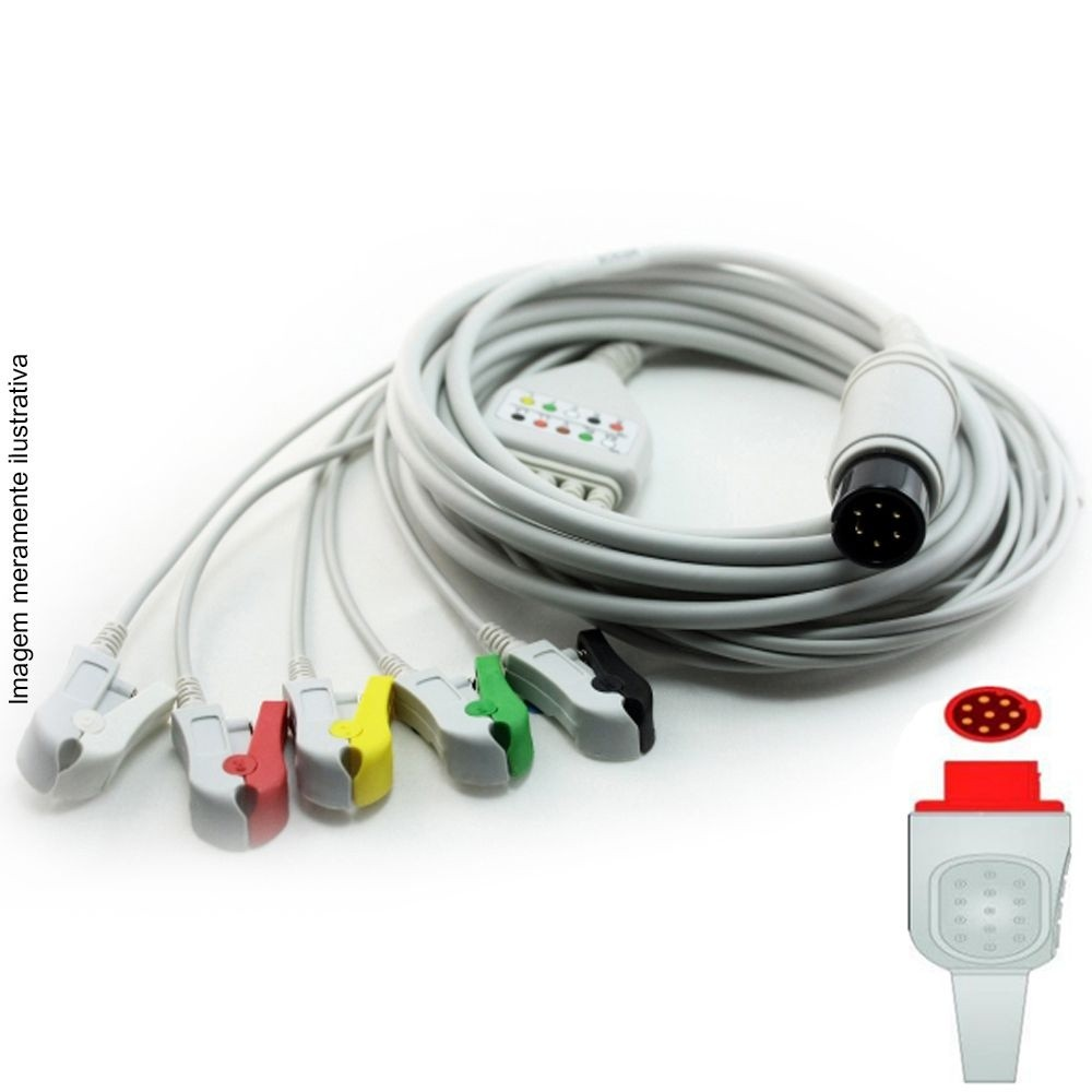 Cabo Paciente 5 Vias Compatível com BIONET Tipo Neo Pinch Encaixe EPX-C507-N - Vepex