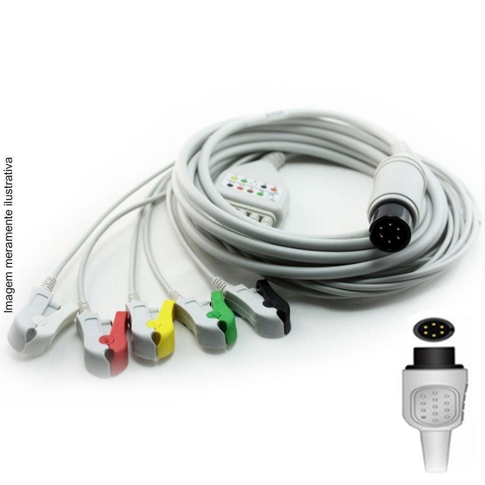 Cabo Paciente 5 Vias Compatível com GE / CRITIKON Tipo Neo Pinch Solda - Vepex
