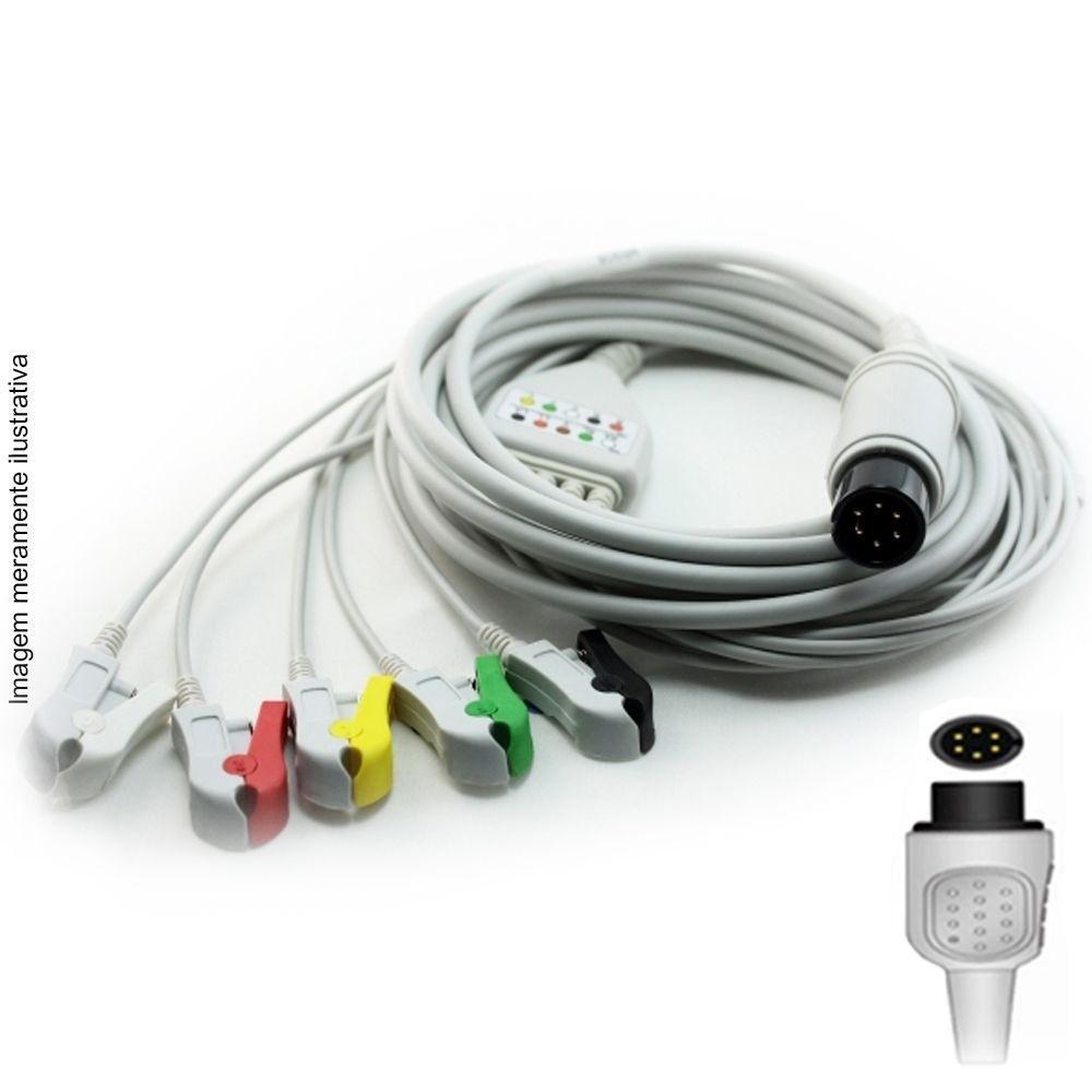 Cabo Paciente 5 Vias Compatível com LSI / LIFEMED Tipo Neo Pinch Encaixe - Vepex