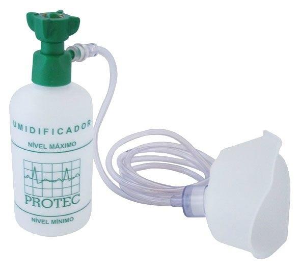 Umidificador C/ Frasco Plástico 250ML C/ Ext E Máscara Oxigênio Infantil - Protec