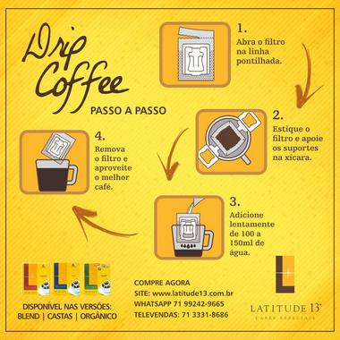 Café Latitude 13 - Orgânico DripCoffee - Caixa 10 Sachês (100g)