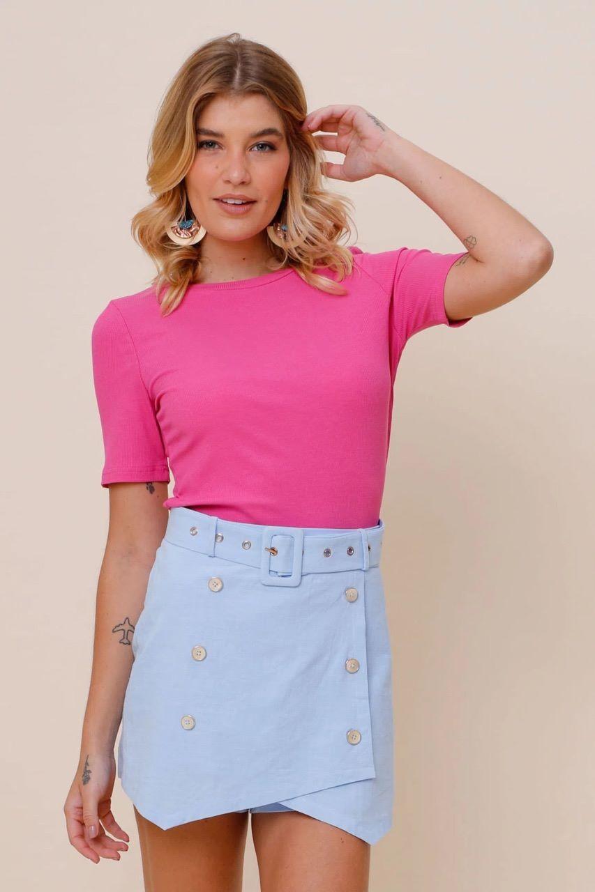 Blusa Canelada Basic Lisa Pink