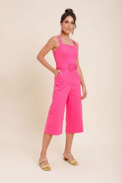 Macacão Pantacourt Com Cinto Pink