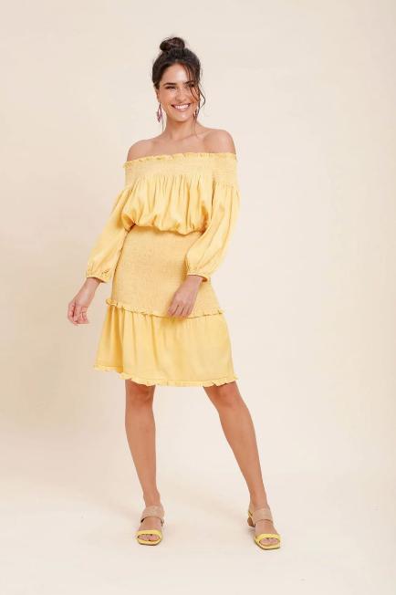 Vestido Chambray Honduras Amarelo