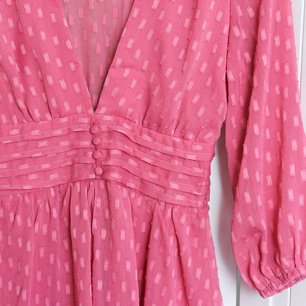 Vestido Curto Mangas 3/4 Botões Forrados Rosa