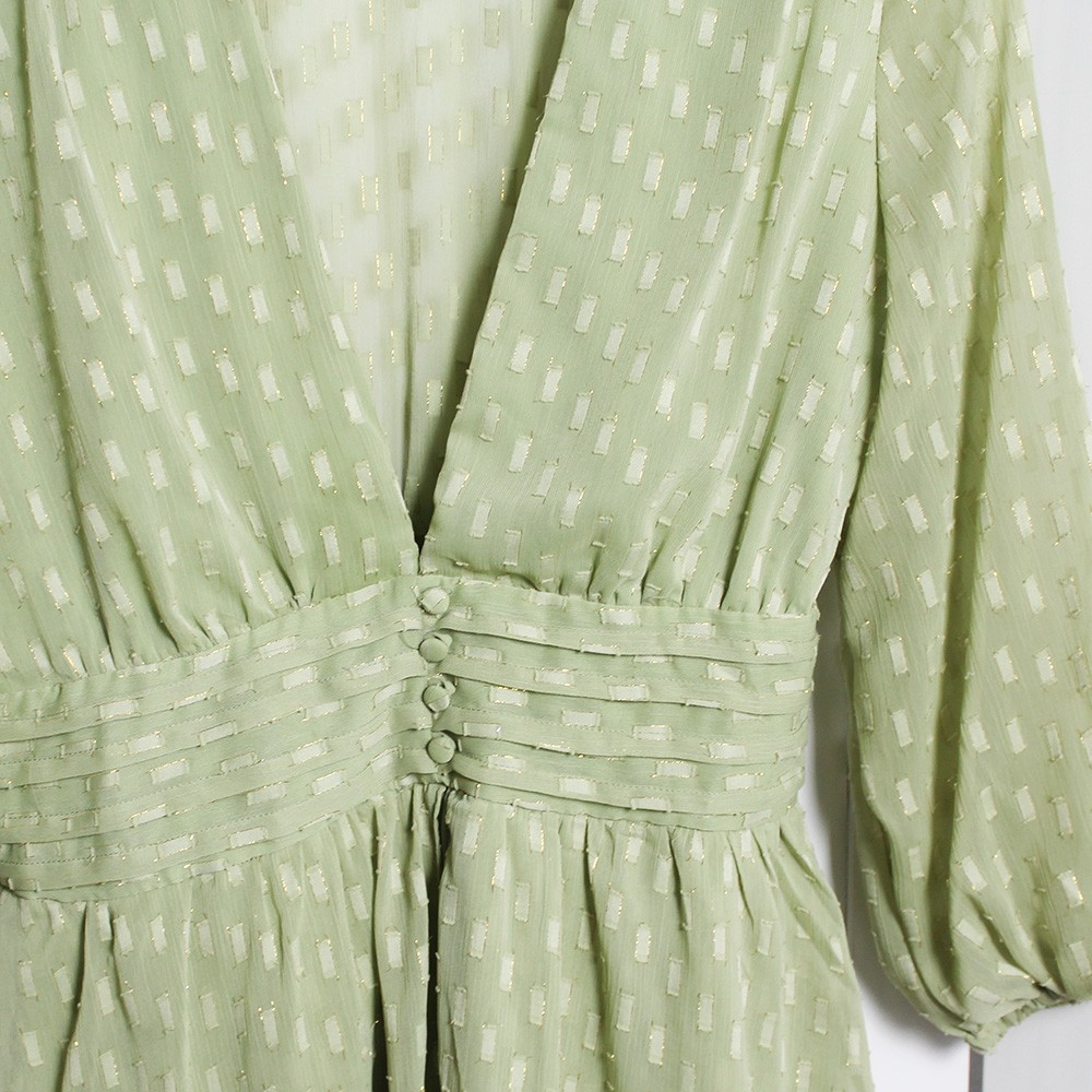 Vestido Curto Mangas 3/4 Botões Forrados Verde