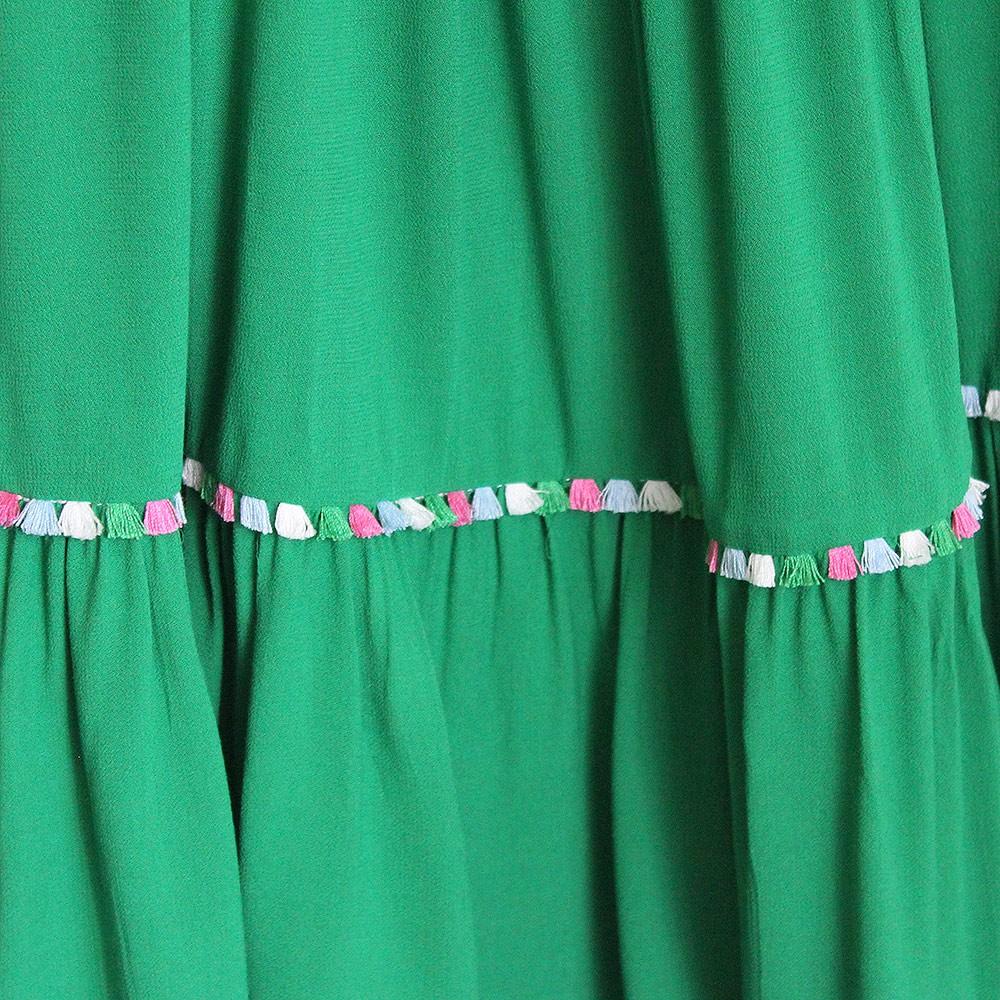 Vestido Curto Viscose Lastex Franja Verde